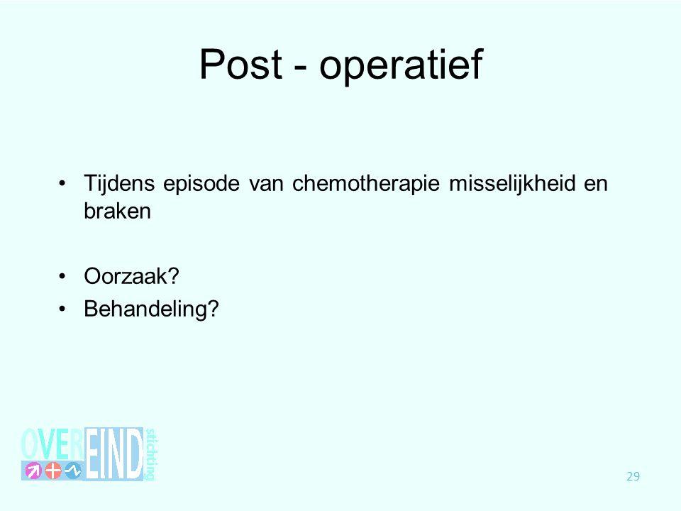 Post - operatief Tijdens episode van chemotherapie misselijkheid en braken Oorzaak? Behandeling? 29