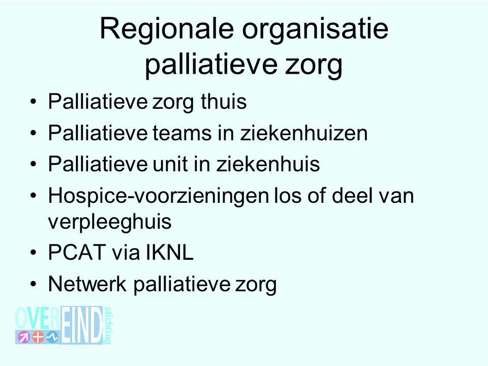 Regionale organisatie palliatieve zorg Palliatieve zorg thuis Palliatieve teams in ziekenhuizen Palliatieve unit in ziekenhuis Hospice-voorzieningen l