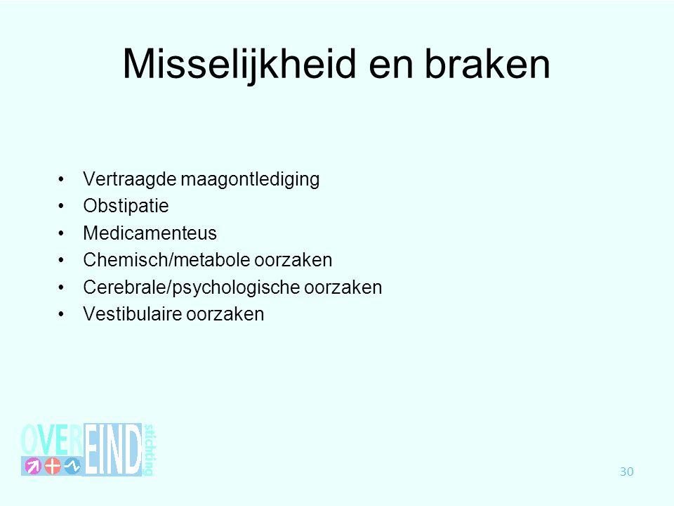 Misselijkheid en braken Vertraagde maagontlediging Obstipatie Medicamenteus Chemisch/metabole oorzaken Cerebrale/psychologische oorzaken Vestibulaire