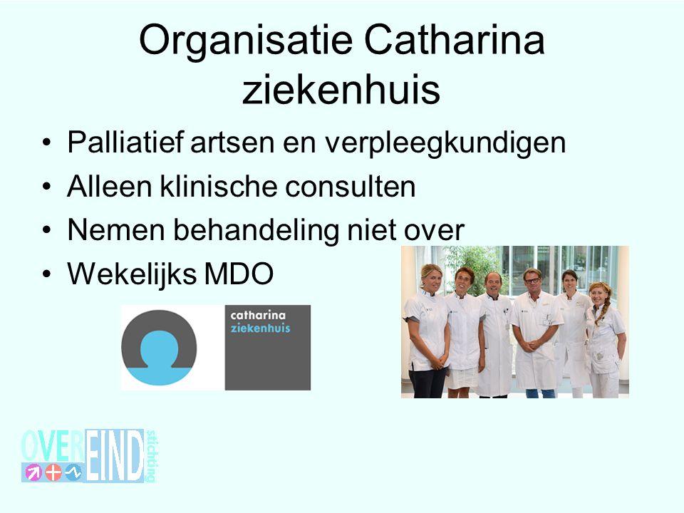 Organisatie Catharina ziekenhuis Palliatief artsen en verpleegkundigen Alleen klinische consulten Nemen behandeling niet over Wekelijks MDO