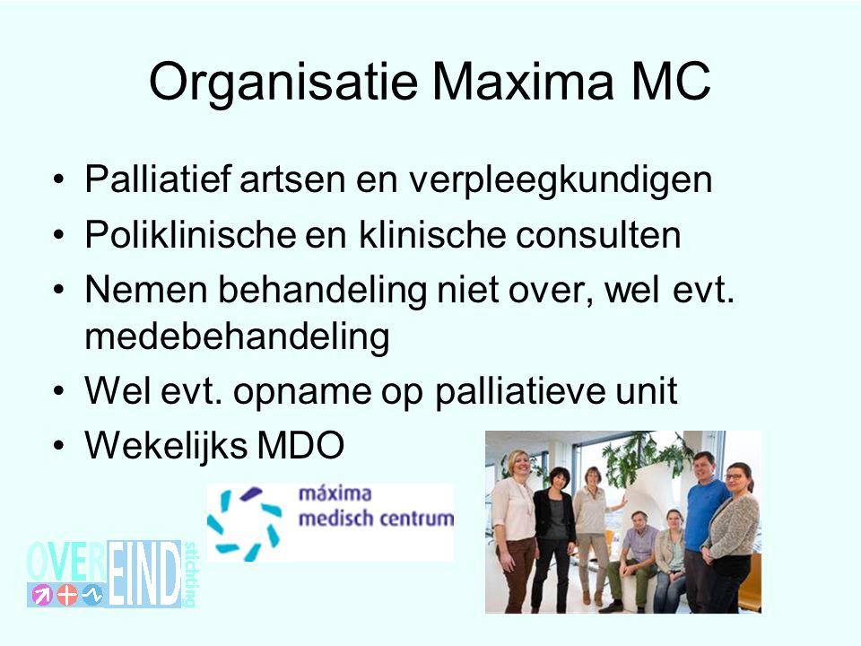 Organisatie Maxima MC Palliatief artsen en verpleegkundigen Poliklinische en klinische consulten Nemen behandeling niet over, wel evt. medebehandeling