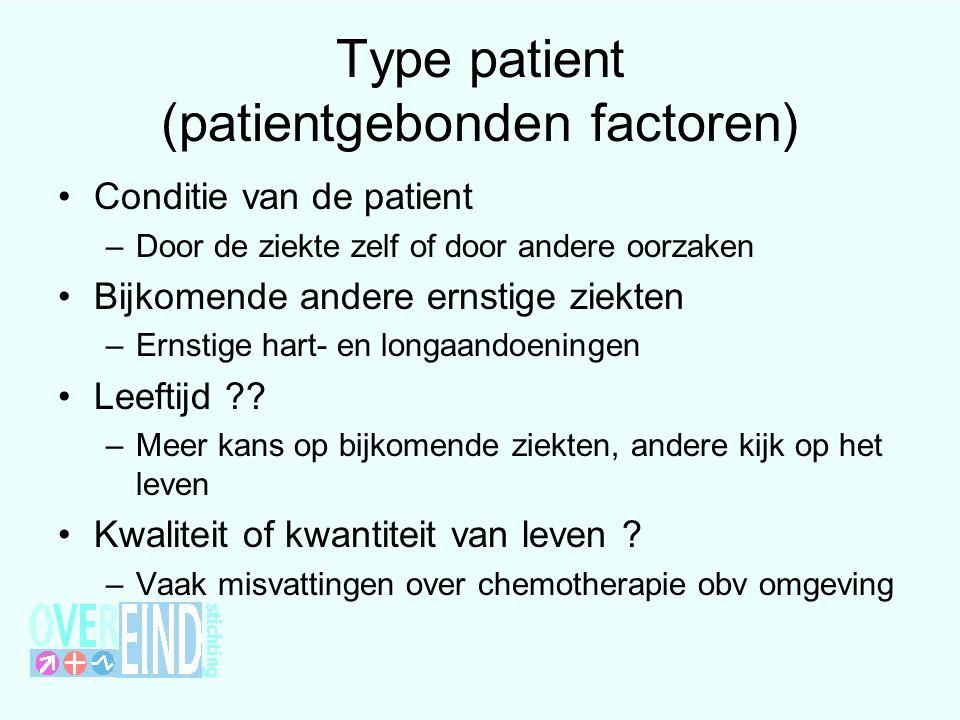 Type patient (patientgebonden factoren) Conditie van de patient –Door de ziekte zelf of door andere oorzaken Bijkomende andere ernstige ziekten –Ernst