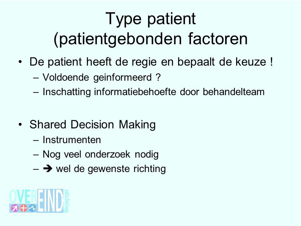 Type patient (patientgebonden factoren De patient heeft de regie en bepaalt de keuze ! –Voldoende geinformeerd ? –Inschatting informatiebehoefte door