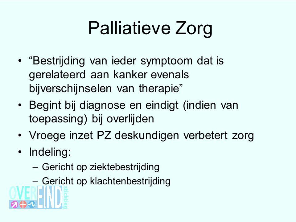 """Palliatieve Zorg """"Bestrijding van ieder symptoom dat is gerelateerd aan kanker evenals bijverschijnselen van therapie"""" Begint bij diagnose en eindigt"""