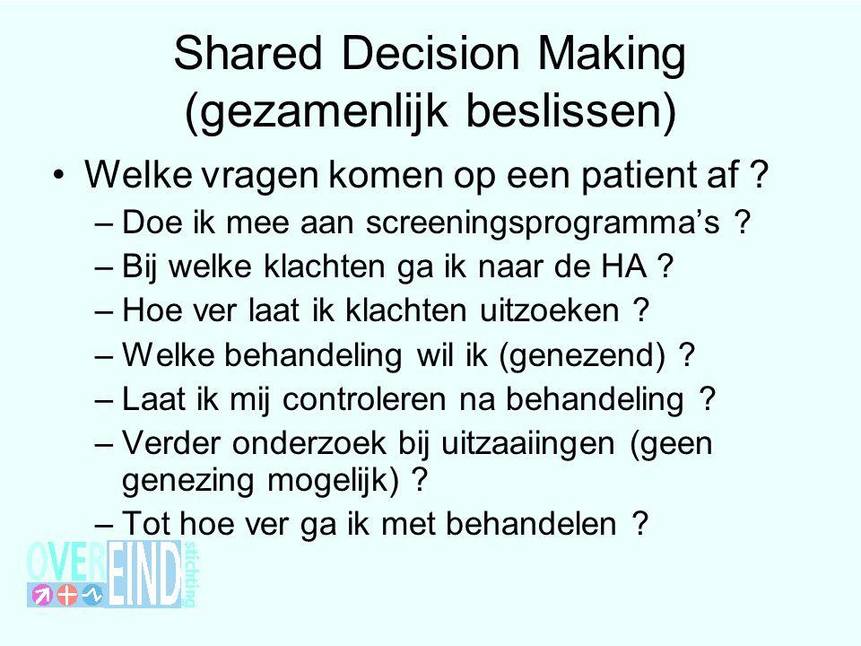 Shared Decision Making (gezamenlijk beslissen) Welke vragen komen op een patient af ? –Doe ik mee aan screeningsprogramma's ? –Bij welke klachten ga i