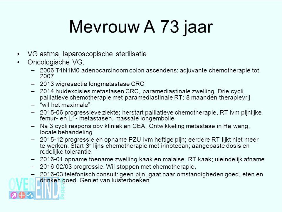 Mevrouw A 73 jaar VG astma, laparoscopische sterilisatie Oncologische VG: –2006 T4N1M0 adenocarcinoom colon ascendens; adjuvante chemotherapie tot 200