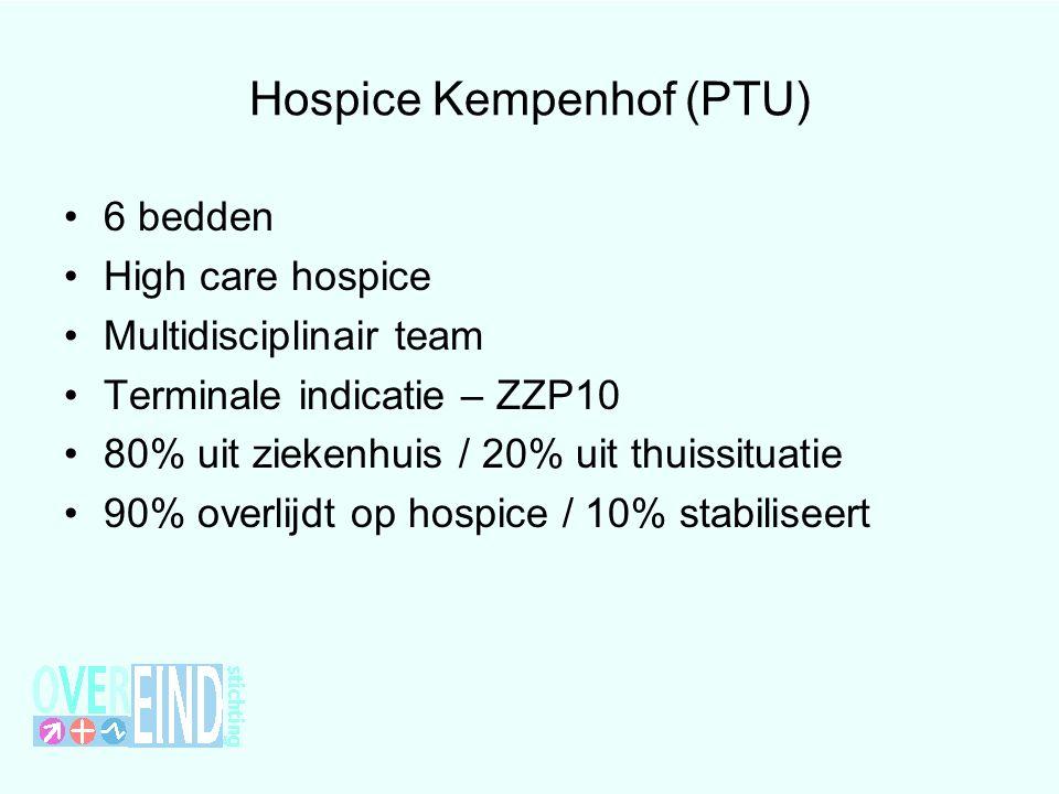 Hospice Kempenhof (PTU) 6 bedden High care hospice Multidisciplinair team Terminale indicatie – ZZP10 80% uit ziekenhuis / 20% uit thuissituatie 90% o