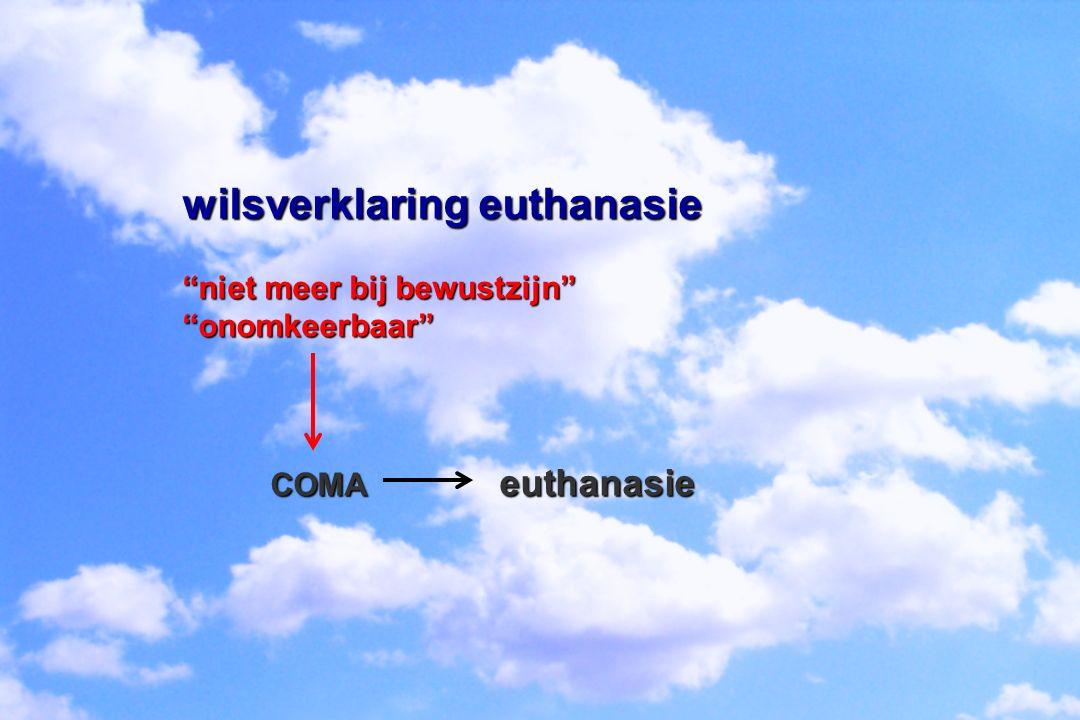 """wilsverklaring euthanasie """"niet meer bij bewustzijn"""" """"onomkeerbaar"""" COMA euthanasie COMA euthanasie"""