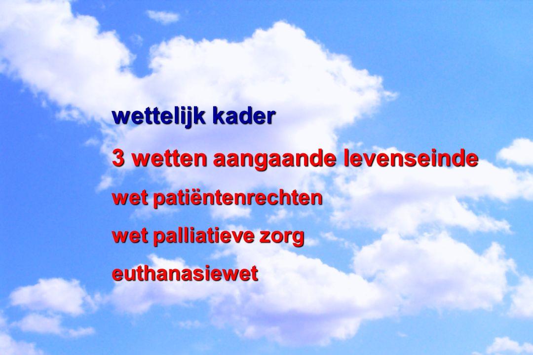 wettelijk kader 3 wetten aangaande levenseinde wet patiëntenrechten wet palliatieve zorg euthanasiewet
