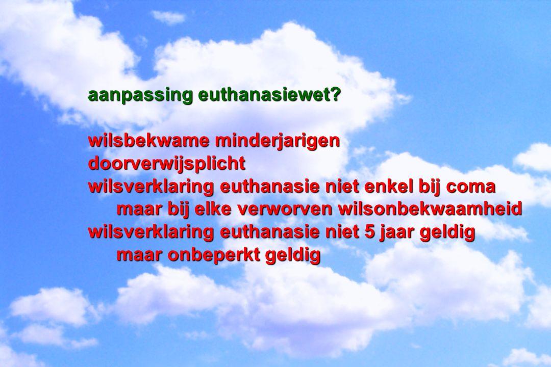 aanpassing euthanasiewet? wilsbekwame minderjarigen doorverwijsplicht wilsverklaring euthanasie niet enkel bij coma maar bij elke verworven wilsonbekw