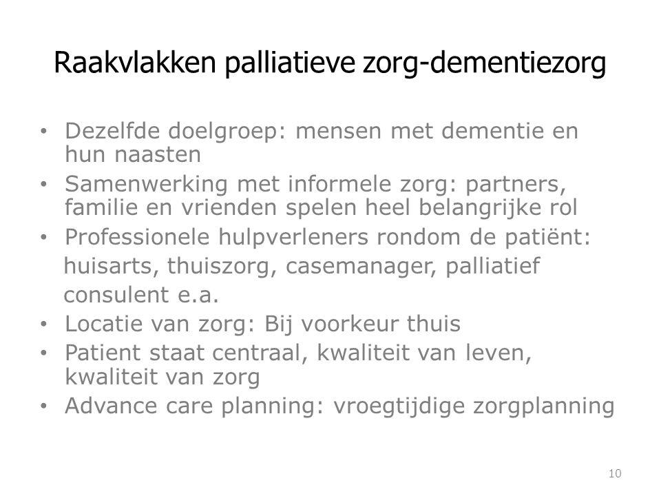 Raakvlakken palliatieve zorg-dementiezorg Dezelfde doelgroep: mensen met dementie en hun naasten Samenwerking met informele zorg: partners, familie en