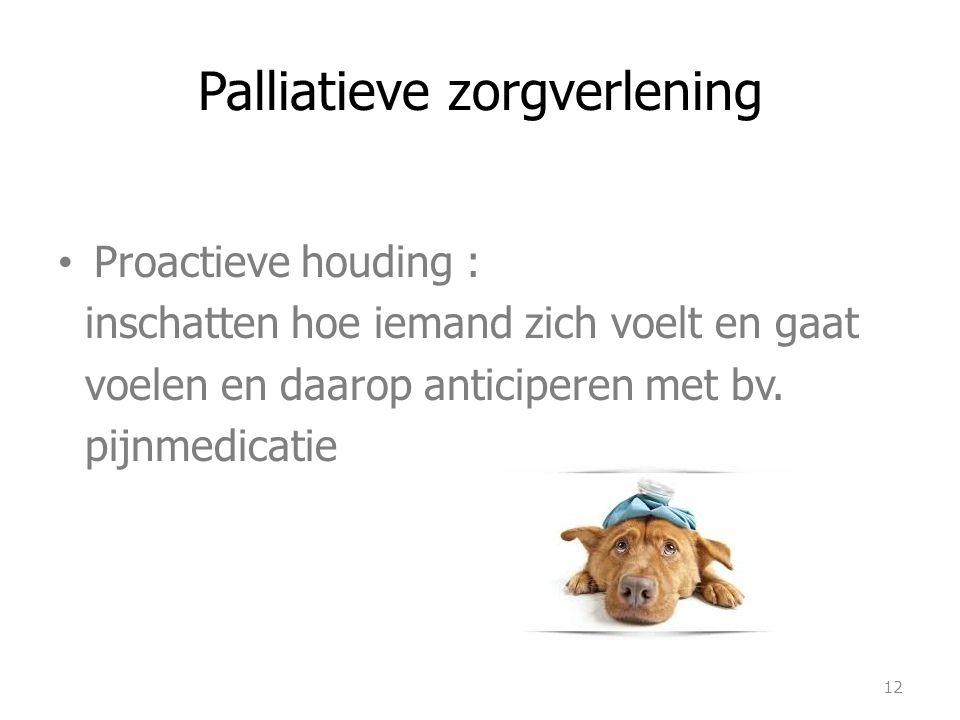 Palliatieve zorgverlening Proactieve houding : inschatten hoe iemand zich voelt en gaat voelen en daarop anticiperen met bv. pijnmedicatie 12