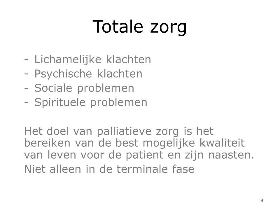 Totale zorg -Lichamelijke klachten -Psychische klachten -Sociale problemen -Spirituele problemen Het doel van palliatieve zorg is het bereiken van de