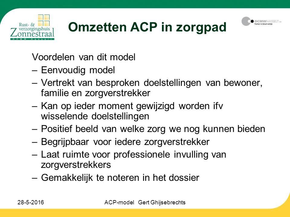 28-5-2016ACP-model Gert Ghijsebrechts Omzetten ACP in zorgpad Voordelen van dit model –Eenvoudig model –Vertrekt van besproken doelstellingen van bewo