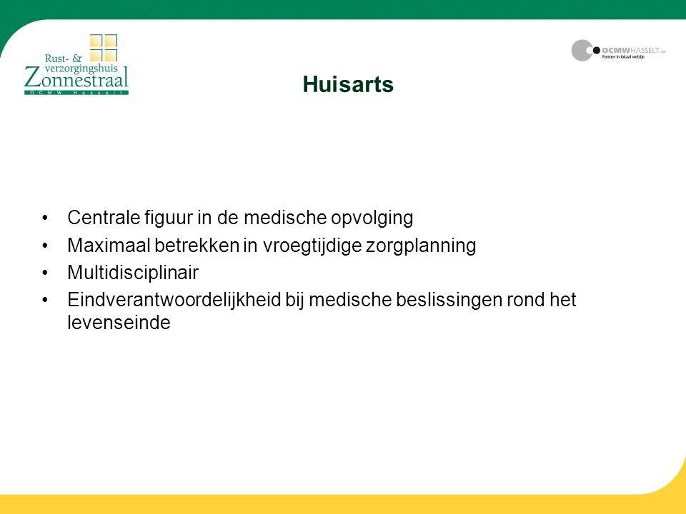 Huisarts Centrale figuur in de medische opvolging Maximaal betrekken in vroegtijdige zorgplanning Multidisciplinair Eindverantwoordelijkheid bij medis