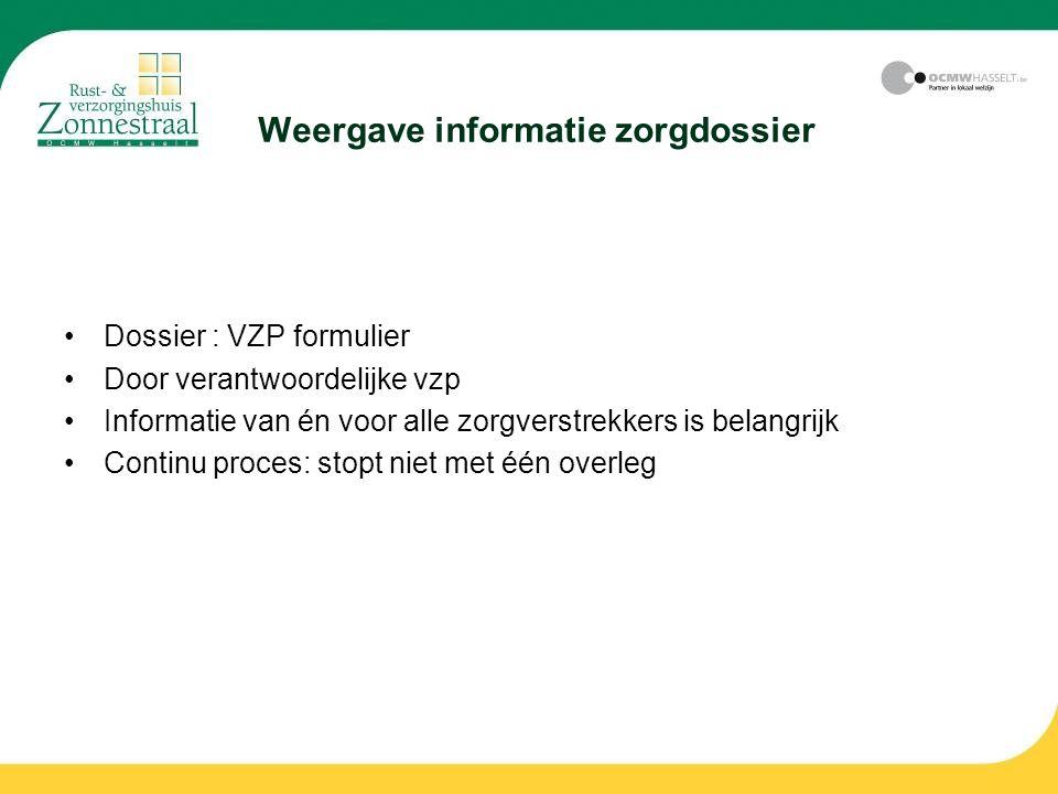 Weergave informatie zorgdossier Dossier : VZP formulier Door verantwoordelijke vzp Informatie van én voor alle zorgverstrekkers is belangrijk Continu