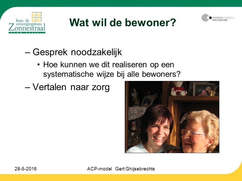28-5-2016ACP-model Gert Ghijsebrechts Wat wil de bewoner? –Gesprek noodzakelijk Hoe kunnen we dit realiseren op een systematische wijze bij alle bewon