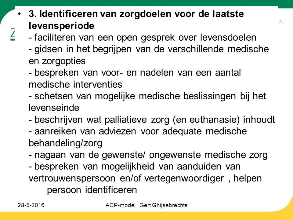 3. Identificeren van zorgdoelen voor de laatste levensperiode - faciliteren van een open gesprek over levensdoelen - gidsen in het begrijpen van de ve