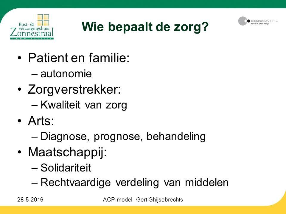 28-5-2016ACP-model Gert Ghijsebrechts Wie bepaalt de zorg? Patient en familie: –autonomie Zorgverstrekker: –Kwaliteit van zorg Arts: –Diagnose, progno