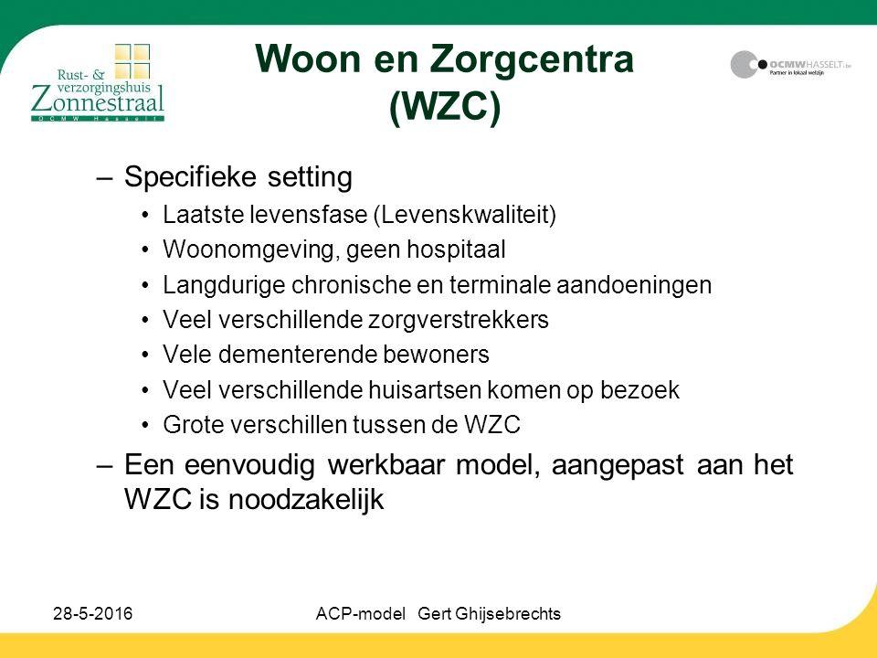 28-5-2016ACP-model Gert Ghijsebrechts Woon en Zorgcentra (WZC) –Specifieke setting Laatste levensfase (Levenskwaliteit) Woonomgeving, geen hospitaal Langdurige chronische en terminale aandoeningen Veel verschillende zorgverstrekkers Vele dementerende bewoners Veel verschillende huisartsen komen op bezoek Grote verschillen tussen de WZC –Een eenvoudig werkbaar model, aangepast aan het WZC is noodzakelijk