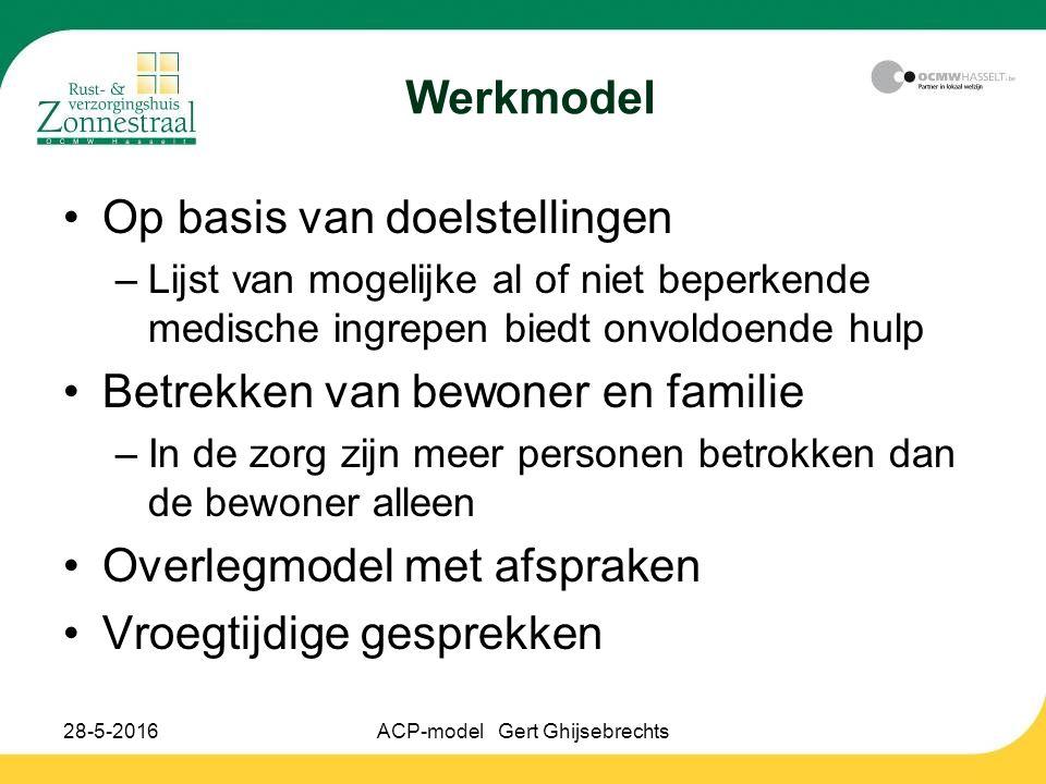 28-5-2016ACP-model Gert Ghijsebrechts Werkmodel Op basis van doelstellingen –Lijst van mogelijke al of niet beperkende medische ingrepen biedt onvoldo
