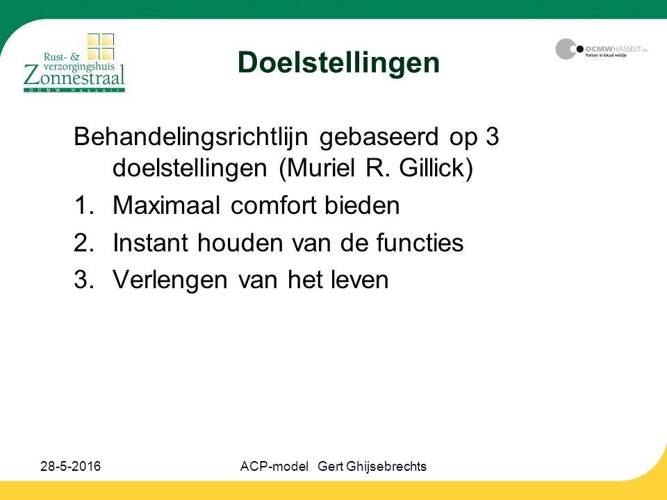 28-5-2016ACP-model Gert Ghijsebrechts Doelstellingen Behandelingsrichtlijn gebaseerd op 3 doelstellingen (Muriel R. Gillick) 1.Maximaal comfort bieden