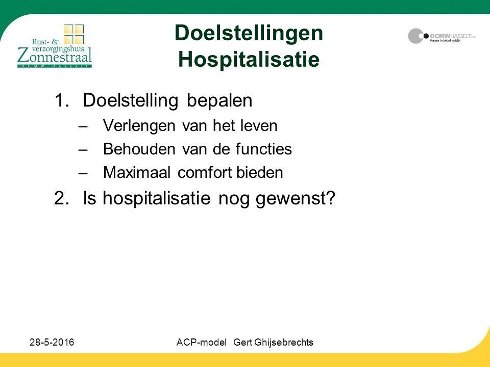 28-5-2016ACP-model Gert Ghijsebrechts Doelstellingen Hospitalisatie 1.Doelstelling bepalen –Verlengen van het leven –Behouden van de functies –Maximaa
