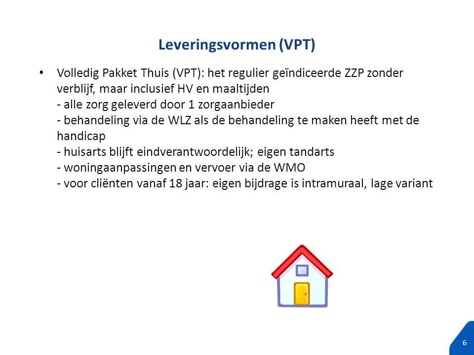 100% tekst zonder subtitels 6 Volledig Pakket Thuis (VPT): het regulier geïndiceerde ZZP zonder verblijf, maar inclusief HV en maaltijden - alle zorg
