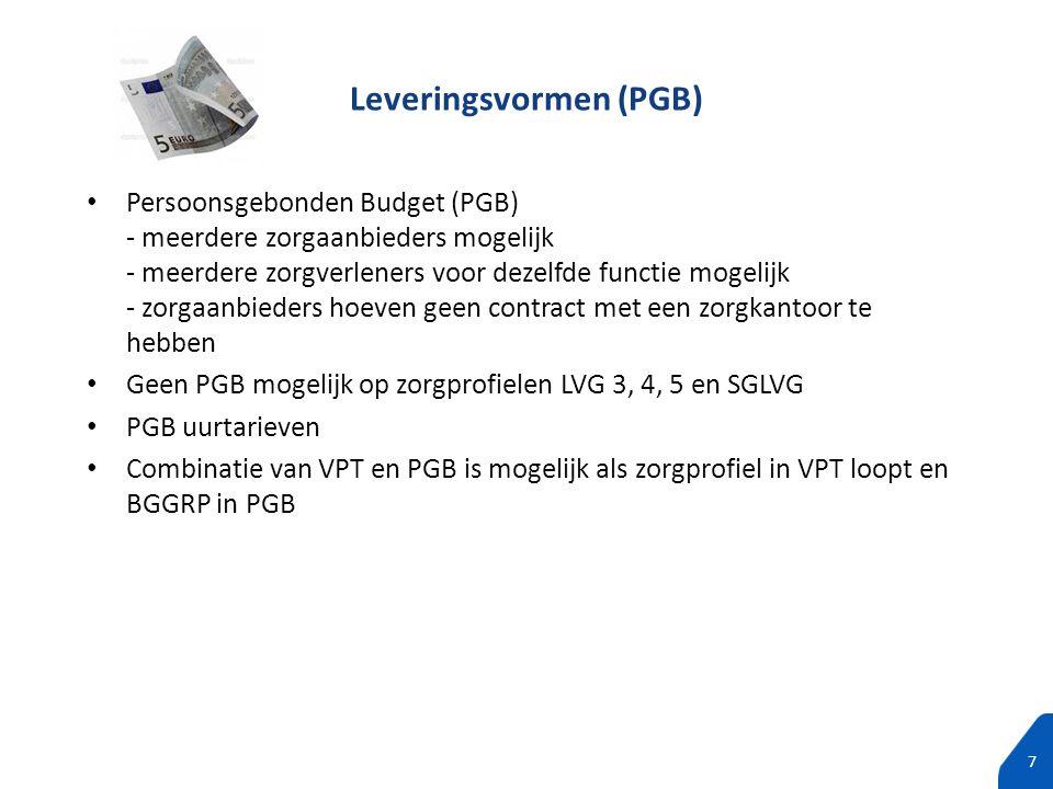 100% tekst zonder subtitels 7 Persoonsgebonden Budget (PGB) - meerdere zorgaanbieders mogelijk - meerdere zorgverleners voor dezelfde functie mogelijk