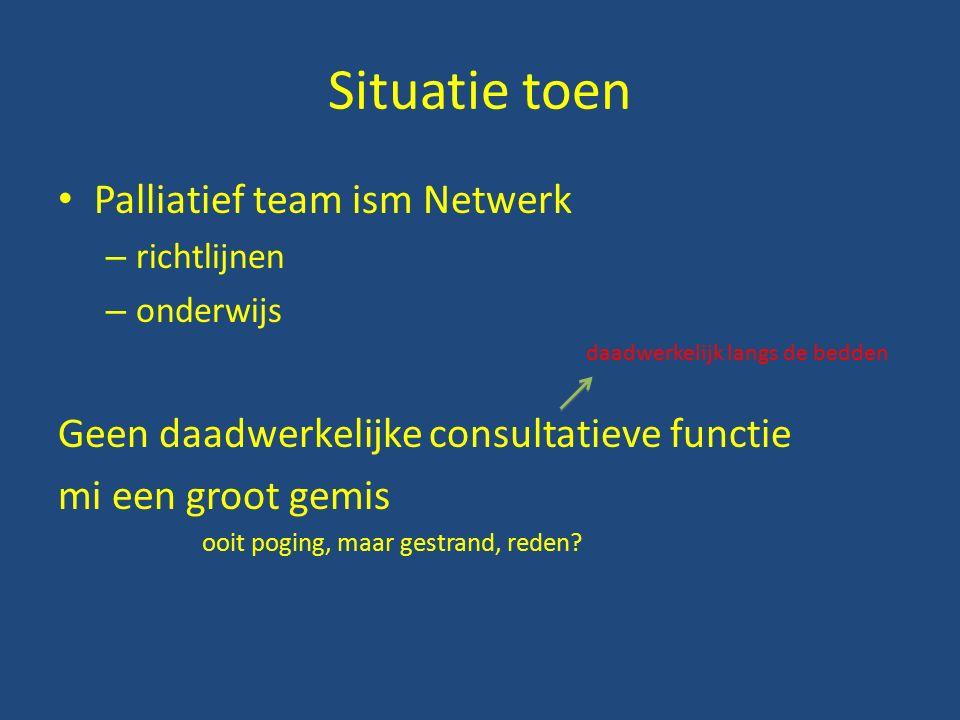 Situatie toen Palliatief team ism Netwerk – richtlijnen – onderwijs daadwerkelijk langs de bedden Geen daadwerkelijke consultatieve functie mi een groot gemis ooit poging, maar gestrand, reden?