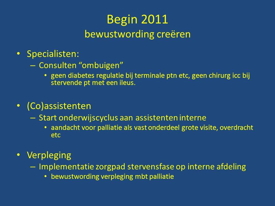 Begin 2011 bewustwording creëren Specialisten: – Consulten ombuigen geen diabetes regulatie bij terminale ptn etc, geen chirurg icc bij stervende pt met een ileus.