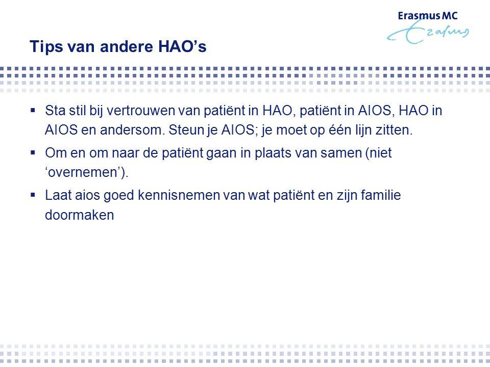 Tips van andere HAO's  Sta stil bij vertrouwen van patiënt in HAO, patiënt in AIOS, HAO in AIOS en andersom.