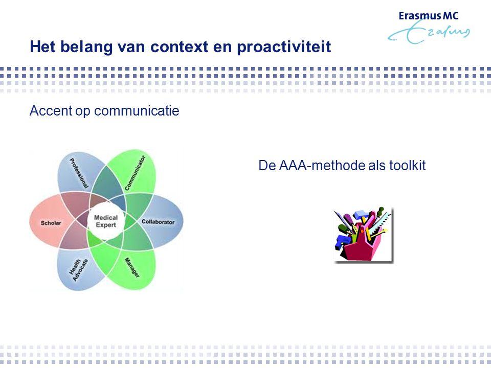Het belang van context en proactiviteit Accent op communicatie De AAA-methode als toolkit