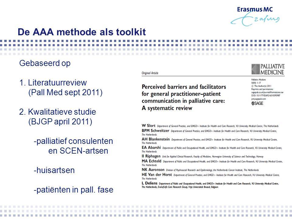 De AAA methode als toolkit Gebaseerd op 1. Literatuurreview (Pall Med sept 2011) 2.