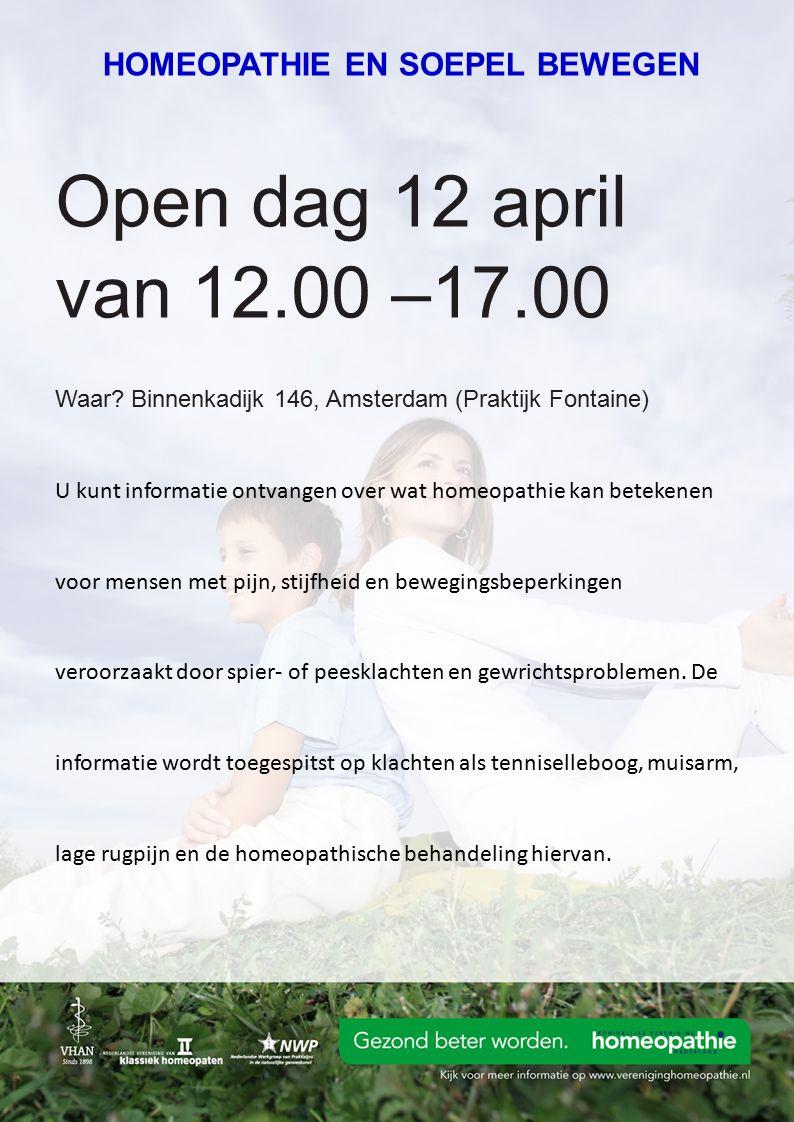 Open dag 12 april van 12.00 –17.00 Waar.