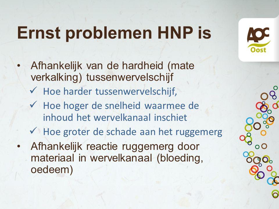 Ernst problemen HNP is Afhankelijk van de hardheid (mate verkalking) tussenwervelschijf Hoe harder tussenwervelschijf, Hoe hoger de snelheid waarmee d