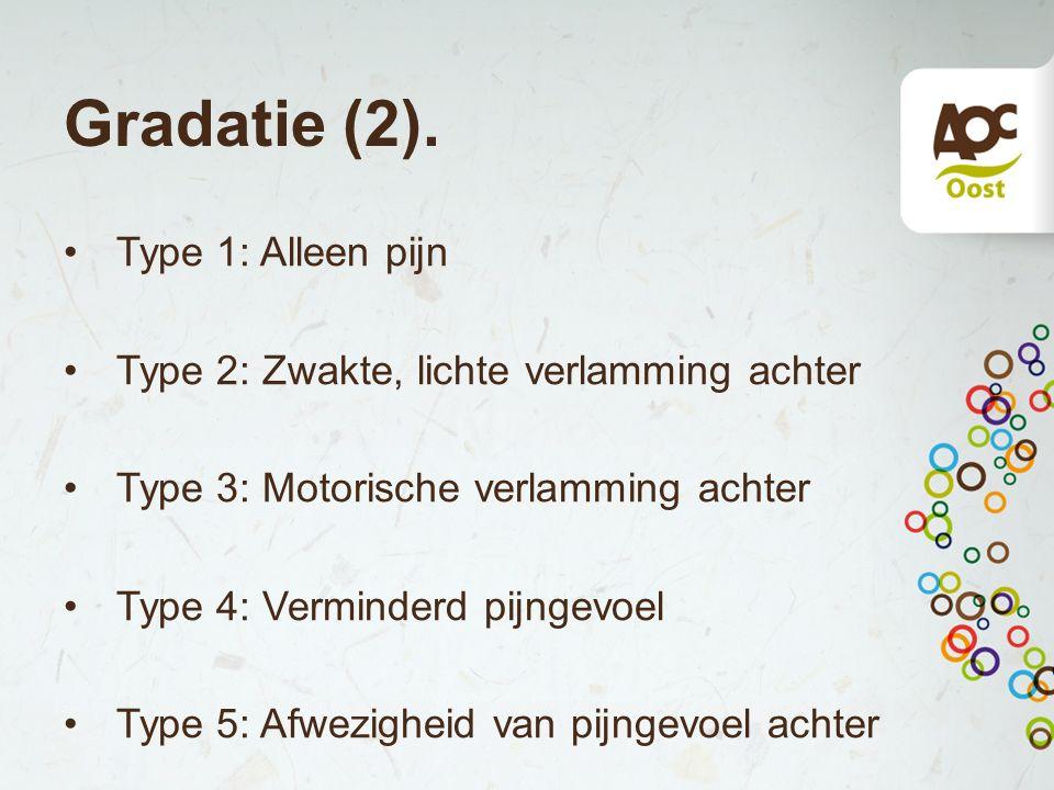 Gradatie (2). Type 1: Alleen pijn Type 2: Zwakte, lichte verlamming achter Type 3: Motorische verlamming achter Type 4: Verminderd pijngevoel Type 5: