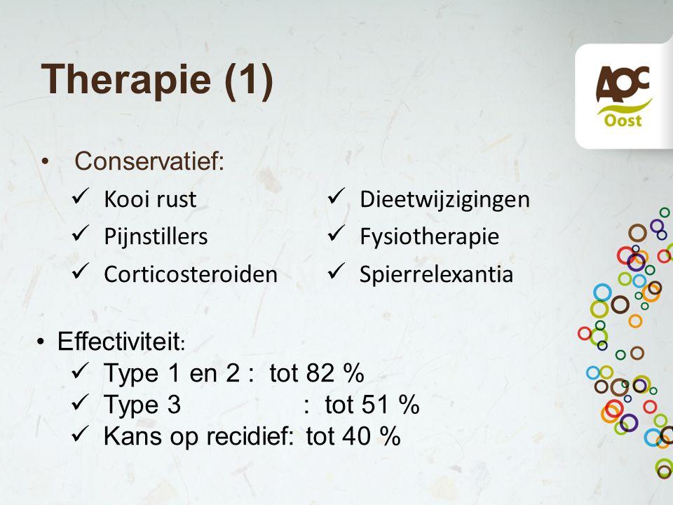 Therapie (1) Conservatief: Kooi rust Pijnstillers Corticosteroiden Dieetwijzigingen Fysiotherapie Spierrelexantia Effectiviteit : Type 1 en 2 : tot 82
