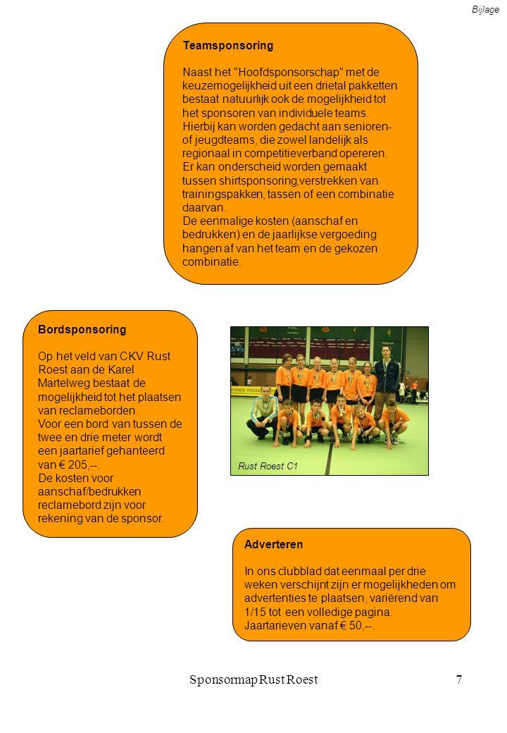 Sponsormap Rust Roest8 Evenementensponsoring Ieder jaar worden door CKV Rust Roest diverse activiteiten georganiseerd, zoals onder meer het familietoernooi, feesttraining voor de welpen, opleidingen, jeugdkampen, kaderavond voor de vrijwilligers, diverse jeugdactiviteiten en dergelijke.