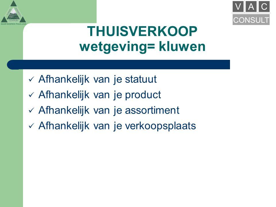 THUISVERKOOP wetgeving= kluwen Fiscaliteit Handelswetgeving FAVV Ruimtelijke ordening / Milieuvergunning Voorschriften Steun
