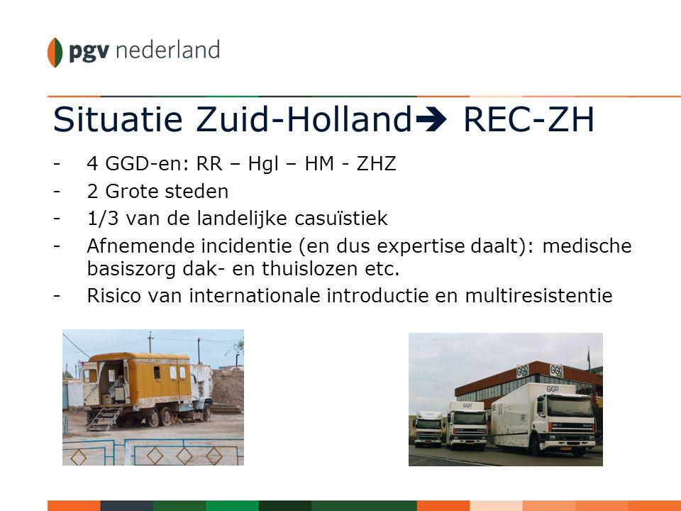 Situatie Zuid-Holland  REC-ZH -4 GGD-en: RR – Hgl – HM - ZHZ -2 Grote steden -1/3 van de landelijke casuïstiek -Afnemende incidentie (en dus expertis