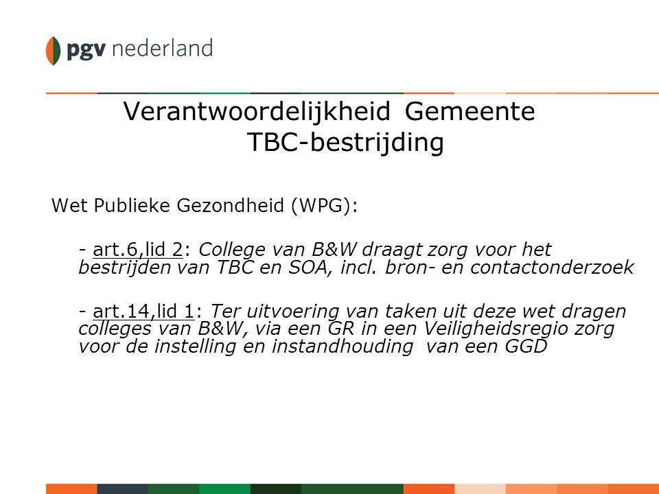 Verantwoordelijkheid Gemeente TBC-bestrijding Wet Publieke Gezondheid (WPG): - art.6,lid 2: College van B&W draagt zorg voor het bestrijden van TBC en