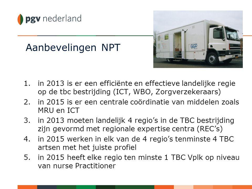 Aanbevelingen NPT 1.in 2013 is er een efficiënte en effectieve landelijke regie op de tbc bestrijding (ICT, WBO, Zorgverzekeraars) 2.in 2015 is er een