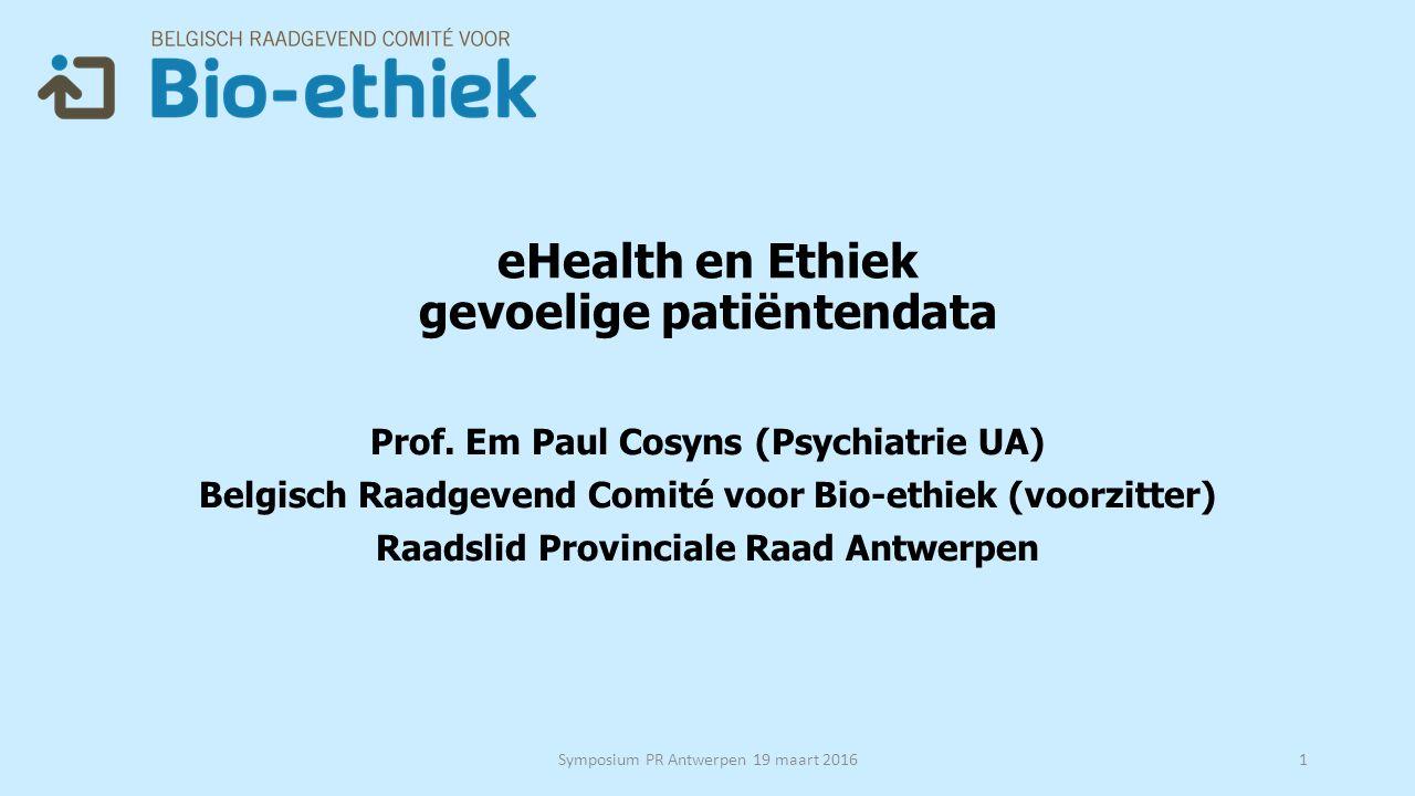 eHealth en Ethiek gevoelige patiëntendata Prof.