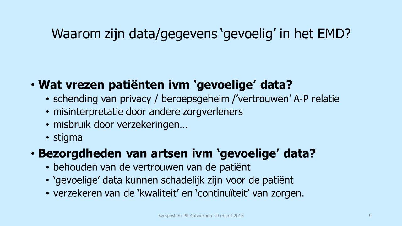 Waarom zijn data/gegevens 'gevoelig' in het EMD. Wat vrezen patiënten ivm 'gevoelige' data.