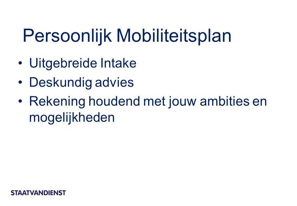 Persoonlijk Mobiliteitsplan Uitgebreide Intake Deskundig advies Rekening houdend met jouw ambities en mogelijkheden