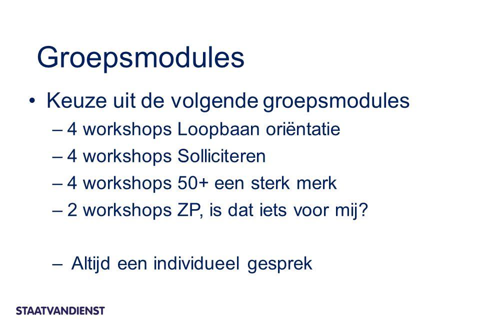 Keuze uit de volgende groepsmodules –4 workshops Loopbaan oriëntatie –4 workshops Solliciteren –4 workshops 50+ een sterk merk –2 workshops ZP, is dat iets voor mij.