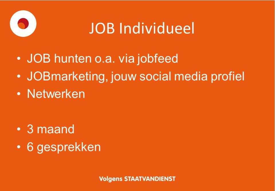 JOB Individueel JOB hunten o.a. via jobfeed JOBmarketing, jouw social media profiel Netwerken 3 maand 6 gesprekken