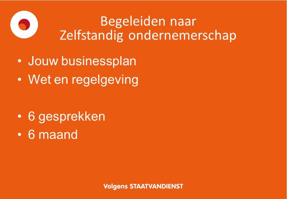 Begeleiden naar Zelfstandig ondernemerschap Jouw businessplan Wet en regelgeving 6 gesprekken 6 maand