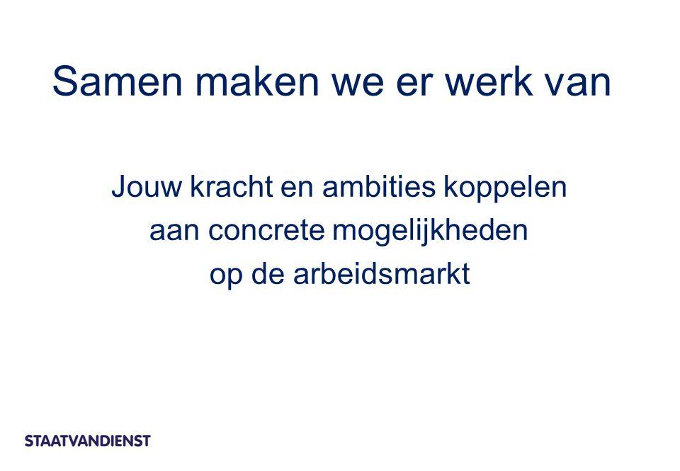 Jouw kracht en ambities koppelen aan concrete mogelijkheden op de arbeidsmarkt Samen maken we er werk van